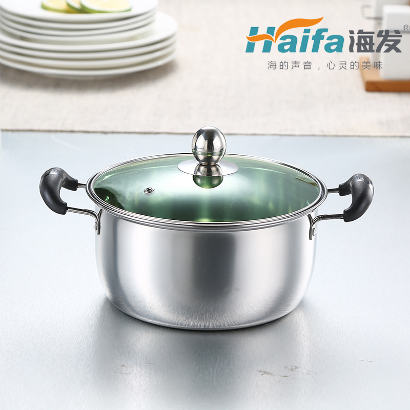 1厘特厚A型双柄奶锅(绿色玻璃盖彩盒装)