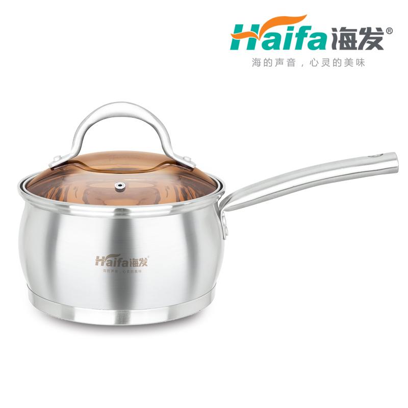精钢鼓型复底单柄奶锅(茶色玻璃盖彩盒装)